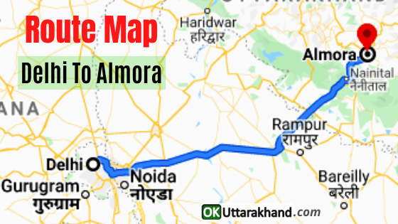 delhi to almora route map